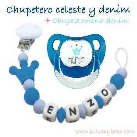 Chupetero silicona corona azul
