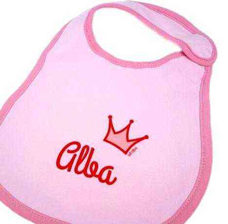 babero corona personalizado rosa