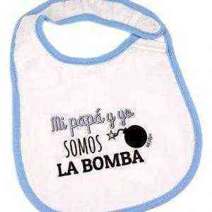 babero blanco azul somos la bomba
