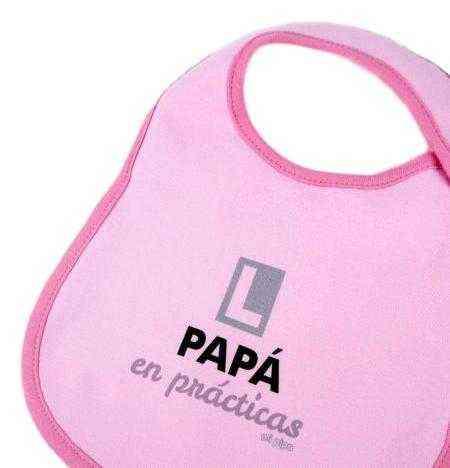 babero papa en practicas rosa