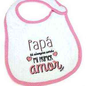 babero blanco rosa amor bebe