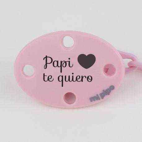 broche rosa papi te quiero