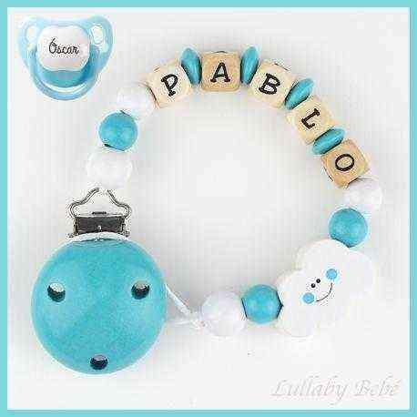 chupetero madera personalizado bube azul