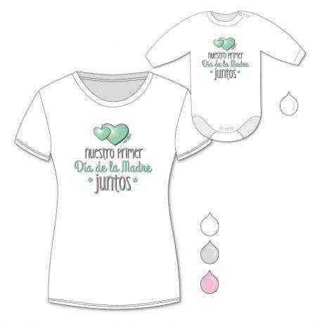 7e305afe0a78 Pack Camiseta mamá + Body bebé Nuestro primer día de la madre juntos Menta