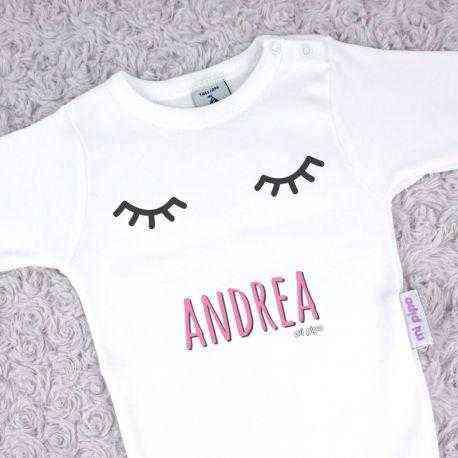 body personalizado bebe pestañas rosa