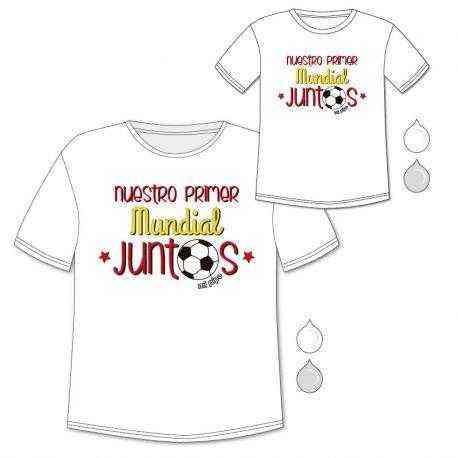 129d98234 Pack Camiseta papá + Body o camiseta Nuestro primer mundial juntos ...
