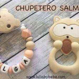 chupetero Personalizado salmon mordedor beige mapache