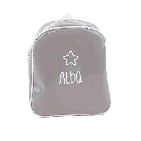 mochila personalizada gris