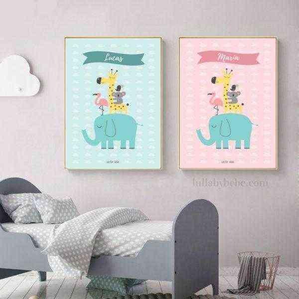 lámina decorativa animales personalizada