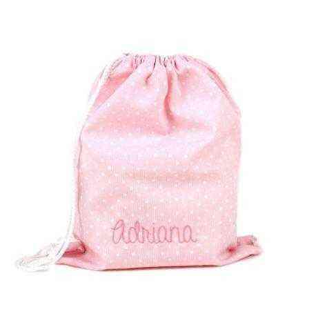 petates mochilas con nombre personalizados rosa