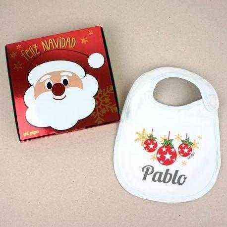 babero personalizado bolas navidad
