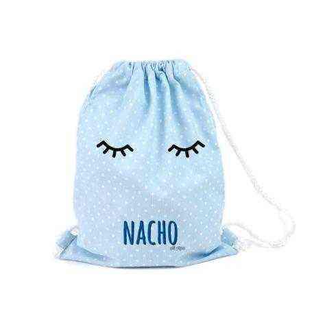mochila petate celeste bebé personalizado