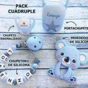 chupetero silicona personalizado azul gris mordedor koala chupete personalizado