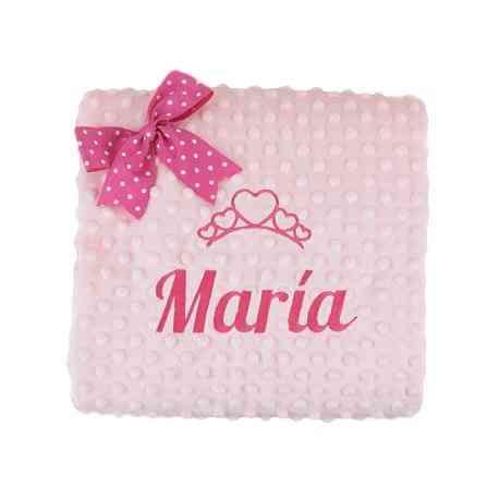 Cochecito o capazo. 011 Rosa Manta de Bebe Personalizado con su Nombre Bordado
