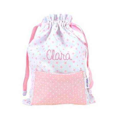 saquito bolsa tela bebé personalizado rosa
