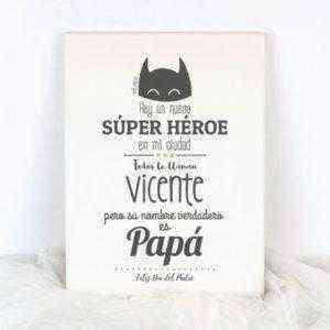 lienzo lámina papá super héroe