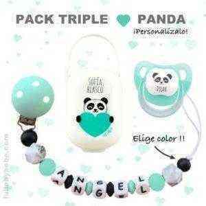 chupetero silicona panda