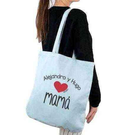 46c791549 Bolso tela algodón orgánico personalizado mamá - Corazón niño/s ...