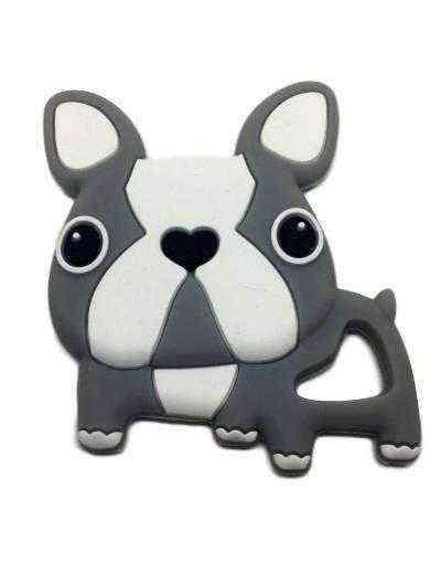 mordedor silicona perro bulldog gris