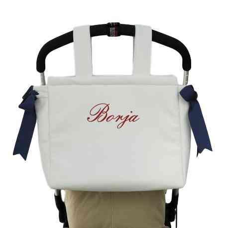 Color marino Bolso Carrito Bebe Polipiel Personalizado con nombre bordado Regalo de un babero Danielstore