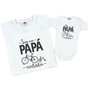 Papá ciclista bicicleta bebé